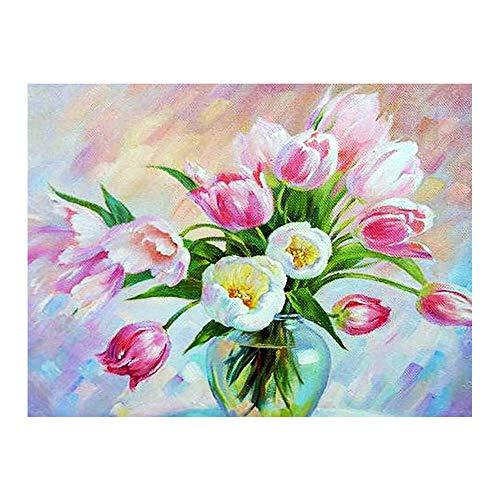 YSNMM Tulpe Bloemenvaas diamant schilderij olie bloemen Ronde volledige boor DIY mozaïek borduurwerk 5D kruissteek wooncultuur cadeau