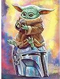 XXYHYQHJD Pintura por Números Baby Yoda Master Star Wars para Adultos y niños Pintar DIY al óleo de Bricolaje con Marco Personalizado Kit Pinceles Principiantes Lienzo Decoraciones 40X50CM