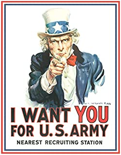 Desperate Enterprises Uncle Sam I Want You for U.S. Army Tin Sign, 12.5