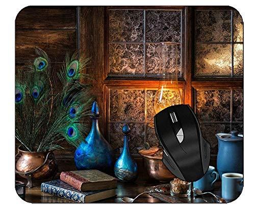 Mauspad Lampe Vase Buch Pfau Fenster Feder Blau Stillleben Tisch Maus Matte Rutschfeste Computer Mousepad Gummi Gedruckt Personalisierte Tastatur Desktops Mauspads 25X30Cm Custom