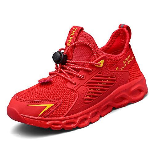 Thlppe Formatori Ragazzi Running Shoes Bambini Ttraspirante Stradali Leggero Scarpe Basket Casual al Coperto Sneakers Unisex Rosso 30EU