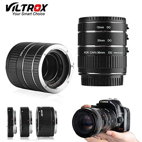 VILTROX DG-C AF Set de tubo de extensión macro para Canon EOS EF EF-S Lente y Canon Cámaras DSLR con tubos 12mm, 20mm e 36mm