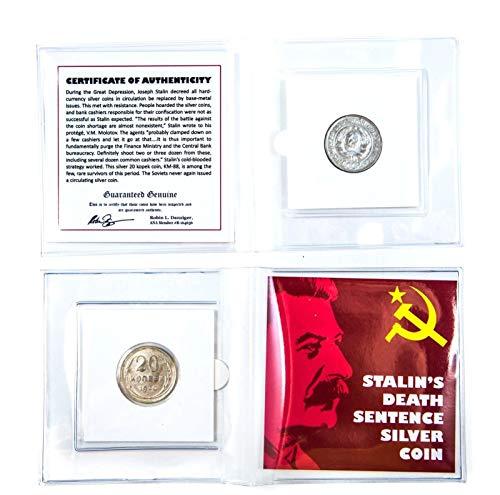 1928 RU Stalin's Death Sentence Silver Coin Mini Album,Certificate And Story Card KM 88 20 Kopek circulated