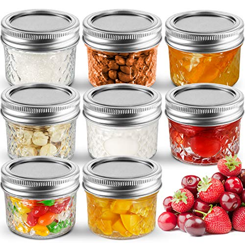Mini Glass Jars Regular Mouth W/Lids and Bands (8, 4 OZ)
