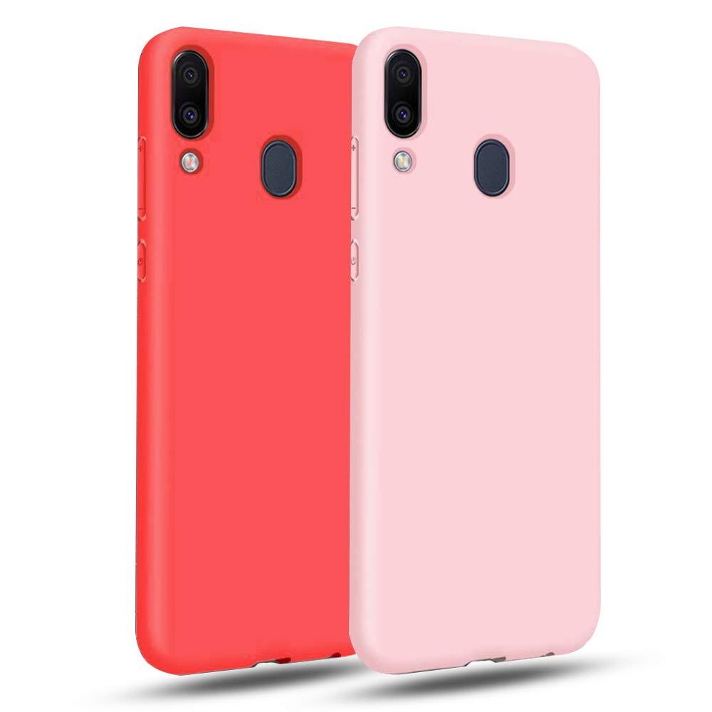 EuCase 2X Funda para Samsung A10S Silicona Carcasa Samsung A10S Antigolpes Suave TPU Flexible Goma Mate Ultra Delgada Color Cubierta Protector Bumper Case para Caja Tapa Rosa Rojo: Amazon.es: Electrónica