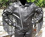 """Skorpion """"HIGHWAY"""" Fransenjacke, Motorradlederjacke Easy Rider aus Rindnappaleder, Chopper und Biker in schwarz, Gr.: 50"""