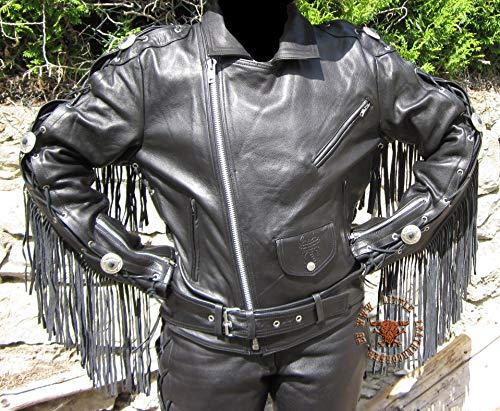 """Skorpion """"HIGHWAY"""" Fransenjacke, Motorradlederjacke Easy Rider aus Rindnappaleder, Chopper und Biker in schwarz, Gr.: 54"""