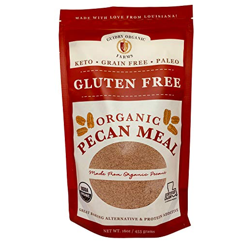 Guidry Organic Farms Pecan Meal, USDA Certified Organic, 16 oz. delicious baking alternative,Gluten Free, Paleo & Keto Friendly, Protein Additive, Flour Substitute, Small Batched-Hand Made with Love!