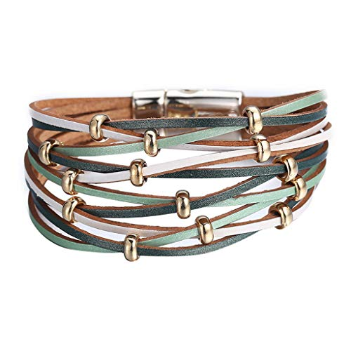 UINGKID Damen-Armband Charm Kreative Stilvolle Mehrschichtiges Leder geflochtenes Stulpe Legierung Magnetverschluss Schmuck