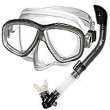 Promate Snorkeling Scuba Dive Dry Snorkel Purge Mask Gear Set, Silver