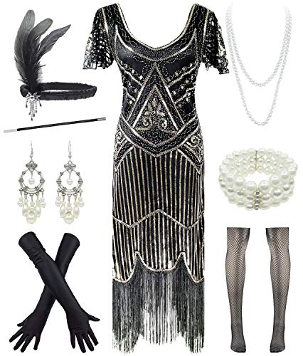 Women 1920s Short Prom Dresses V Neck Sequins Cocktail Flapper Plus Dress 20s Accessories Set