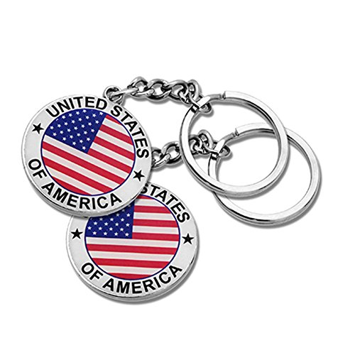 2x Round USA US American Flag & Patriotic Keychain Ring - Set of 2