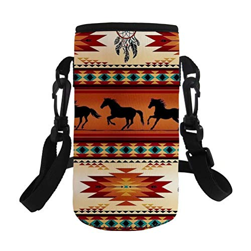 NDISTIN Brown Aztec Horse Water Bottle Sleeve Women Men Work Office Outfitters Insulated Neoprene Fabric Easy Carry Fit Most Style Fashion with Adjustable Shoulder Strap Free Hands Kids Best Gift
