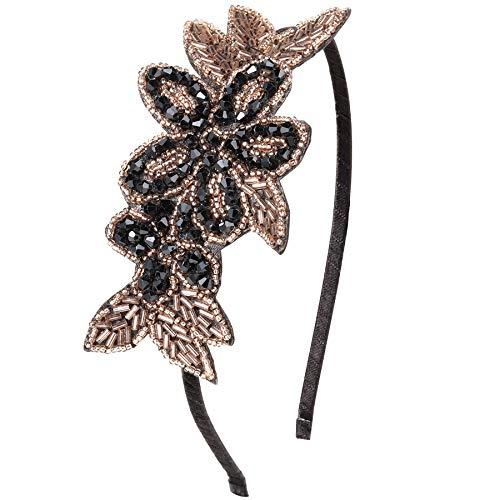 ArtiDeco 1920s Stirnband Damen Haarreif Gatsby Kostüm Accessoires 20er Jahre Flapper Haarband (Stil5 - Gold Schwarz)