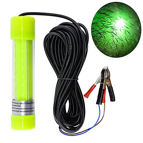 AGOOL Underwater Fishing Light Super Bright Lure Bait Finder Night Fishing Light 20W LED Lamp 12V-24V with Battery Clip for Shrimp, Prawns, Squid and Fish (Green)