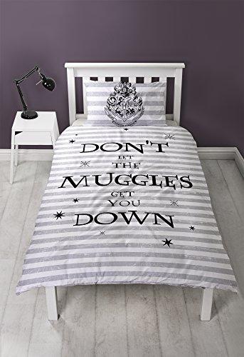 Harry Potter Heimdeko, schwarz/weiß/grau, Einzelbett