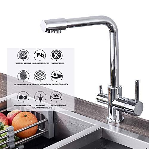 SUGU 3-Wege-Küchenarmatur, Trinkwasser, heißes und kaltes Wasser 2 Griff rotierende Wasserdüse Wasserfilter Zeichnung Chrom Küchenspüle Wasserhahn Mischer Wasserhahn