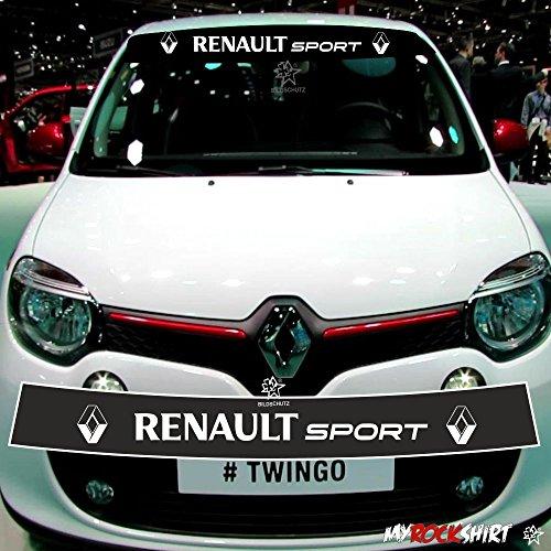 myrockshirt Motorsport Aufkleber Renault Twingo Sport +Blendstreifen 130cm,Keil,Sonnenschutz Rennstreifen +