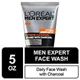 L'Oreal Men Expert Hydra Energetic Facial Cleanser with Charcoal for Daily Face Washing, Mens Face...