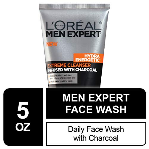 Mens Face Wash, Beard and Skincare for Men, L'Oreal Paris Skincare Men Expert Hydra Energetic Facial Cleanser with Charcoal for Daily Face Washing, 5 fl. Oz