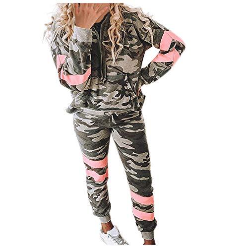 Lazzboy Jogginganzug Damen Camouflage Printed Sets Kapuzenpullover Lounge Wear Anzug Sport Set Freizeitanzug Sportanzug Trainingsanzug für Running Yoga Gym Sportswear ( Armeegrün,2XL )