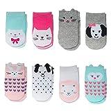 Little Me 8-Pack Baby & Infant Girls Socks, Animal Charter Themed, 0-12 Months