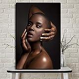 KWzEQ Cartel de Pintura al óleo de Arte Africano de Mujer Negra y Dorada Mural de Sala de Estar sobre Lienzo,Pintura sin Marco,30x45cm