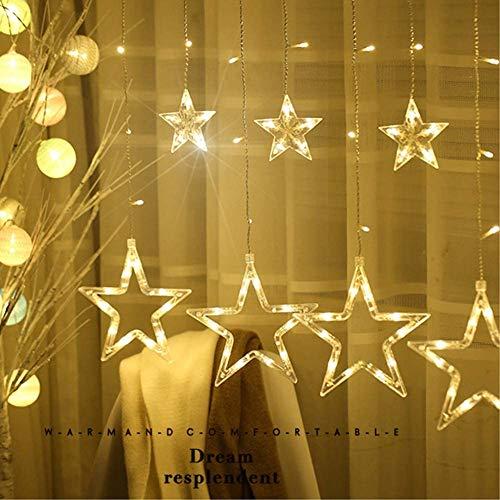 Luces de Cortina de Estrella con 4 Modos de Control de Música y 8 Modos de Iluminación para Navidad, Festival, Fiestas, Casa, Jardín, Boda