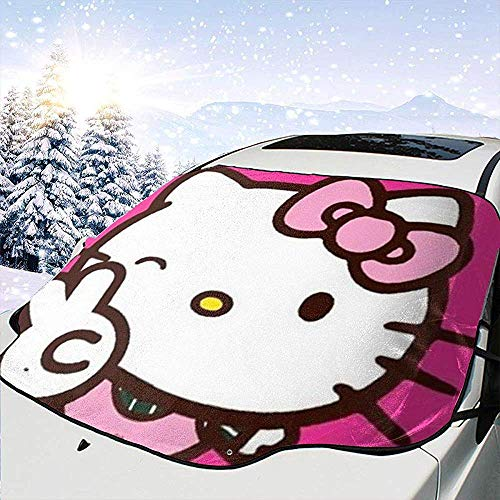 Night-Shop Hello Kitty Winking Yeah Geste-Auto Windschutzscheibe Abdeckung Visier Auto SUV LKW Auto Isolierung Schatten (Universal Type)