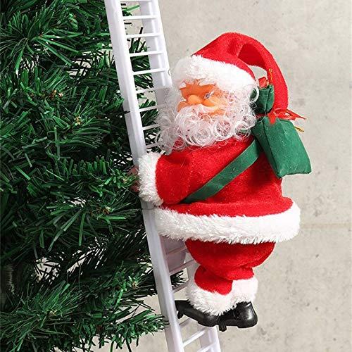 Huhu833 2PC Weihnachtsmann auf Leiter Elektrische Weihnachtsfiguren Kletternder Nikolaus Santa Crawl Indoor und Outdoor Weihnachtsdeko Figur (rot+Weiß)