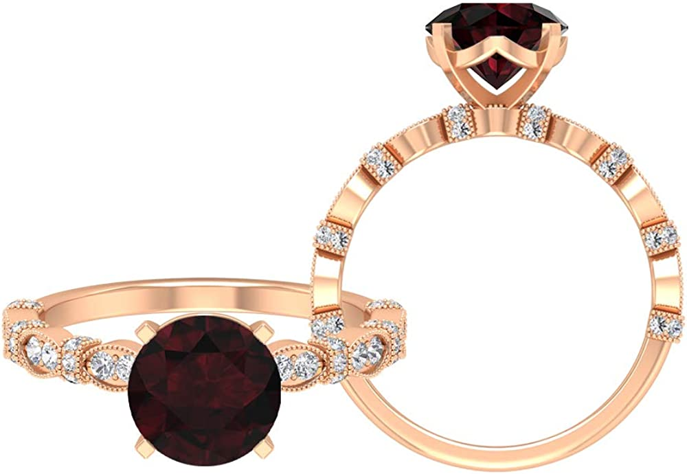 2.08 CT Super Free Shipping Cheap Bargain Gift sale Solitaire Garnet Ring 8 D Round Engagement MM Cut