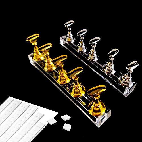 Ealicere 2 Sets Acrylnagel Kunst Praxis Stands Magnetische Nagelspitzenhalter Training Fingernagel Displayständer und 90 Stück White Reusable Adhesive Putty Clay(Gold und Silber)