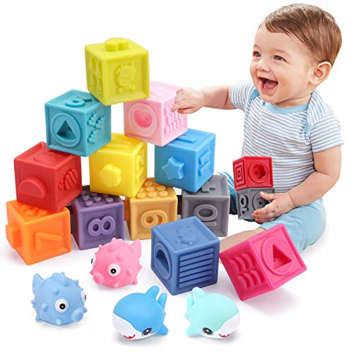 OWNONE 1 Baby Soft Blocks, 16PCS Stacking Building Blocks, Teething & Squeezing Toys for Babies, Cube Blocks with Numbers Animals Fruits, Soft Toys for Babies Infants Toddlers Age 6 to 12 Months Up