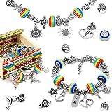 SYSI Kit para hacer pulseras de abalorios, 48 piezas, kit de fabricación de joyas, manualidades con cadena de serpiente para niñas, adolescentes y niños (arcoíris)