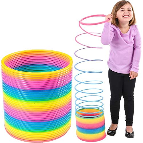 The Dreidel Company Jumbo Rainbow, Plastic Coil Spring, Party Favor for Kids, 7' (175mm) Individually Wrapped