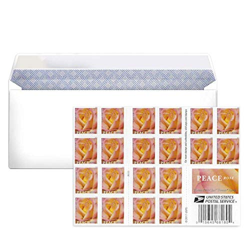 My Postage Stamps Business Envelope Matching Peace Rose Postage Stamps (1 Booklet - 20 Stamps)