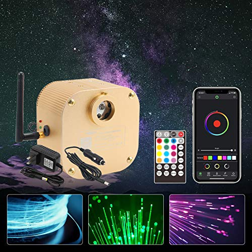 CHINLY 16W Twinkle RGBW Bluetooth APP/Remote LED Fiber Optic Star Ceiling Lights Kit 550pcs 13.1ft 0.03in +Adapter+Cigarette Lighter for Car/Home Theater