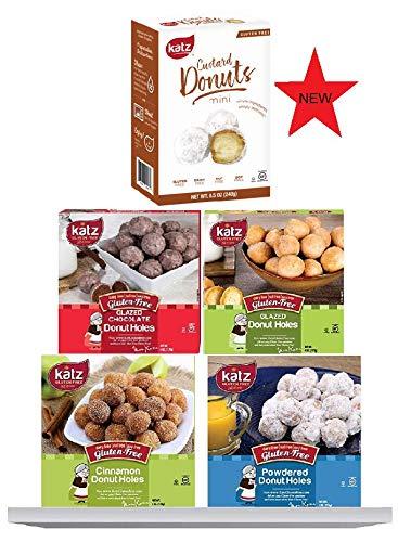 Katz Gluten Free Snacks Donut Hole Variety Pack with Custard | Gluten Free, Dairy Free, Soy Free, Nut Free | Powdered, Glazed, Cinnamon, Chocolate Glazed, Custard | Kosher (1 Pack of each, 5 Total)