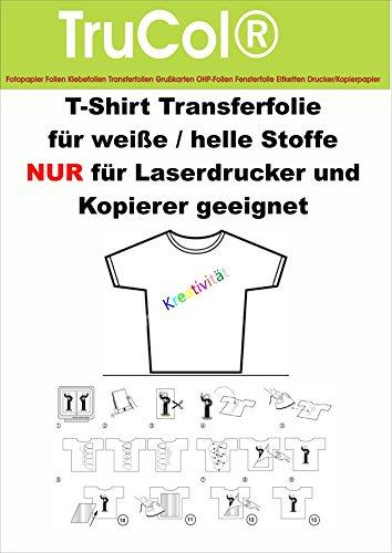 10 Blatt DIN A4 T-Shirt Transferfolie Transferpapier für weiße helle Stoffe Textilien NUR für LASERDRUCKER und Kopierer – klar transparente Bügelfolie