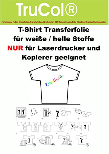 10 fogli foglio T-shirt per tessuti luminosi STAMPANTE LASER A4 chiaro/trasparente