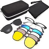 GreeSuit Clip On Occhiali da Sole Lenti Clip On Magnetiche Occhiali da vista con montatura in metallo 6 in 1 e occhiali ottici da guida con lenti antiriflesso a clip (1)