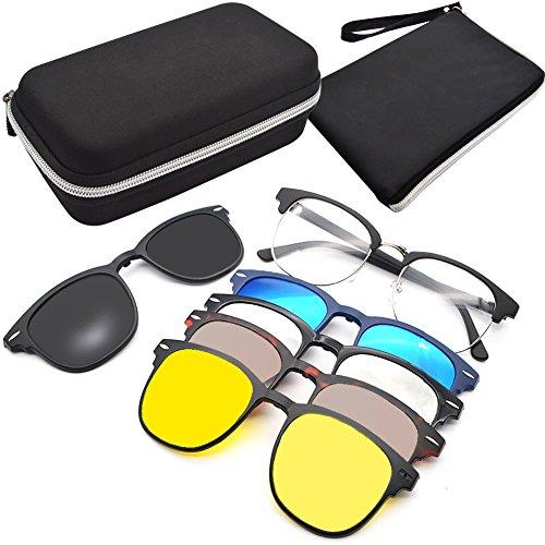 GreeSuit Gafas de sol con lentes 6 en 1 anteojos de metal con montura con clip antideslumbrante magnético lentes de conducción gafas de sol gafas ópticas (1)