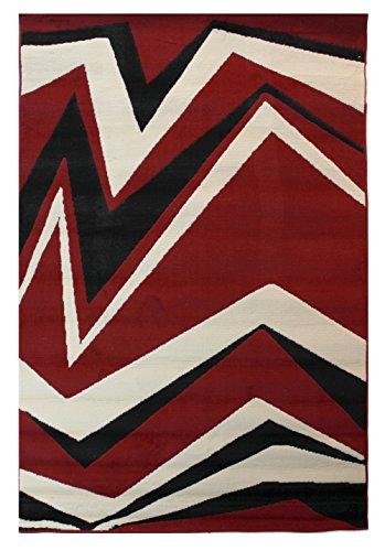 Lord of Rugs Grand tapis moderne Motif éclats Rouge Beige Noir Plusieurs tailles Tapis Rouge 60 x 110 cm