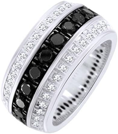 Round Shape Black White Natural Diamond Wedding Band Ring In 14k Solid White Gold 1 35 cttw product image