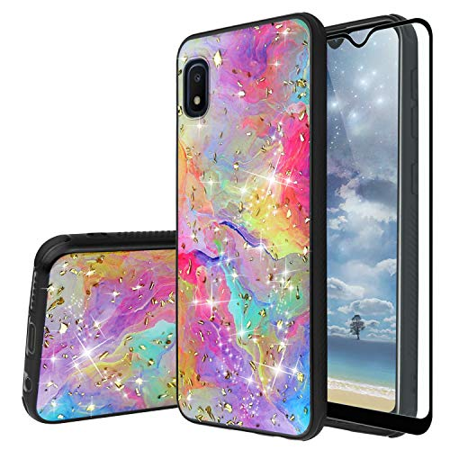 """TJS Phone Case Compatible with Samsung Galaxy A10E 5.8"""" (Not Fit Galaxy A10/M10), [Full Coverage Tempered Glass Screen Protector] Shiny Marble Glitter Back Skin Full Body Soft TPU Bumper (Rainbow)"""