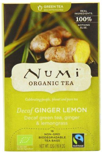 Numi Organic Ginger Sun - Lemon Ginger Decaf Green 16 Beutel, 3er Pack (3 x 32 g) - Bio