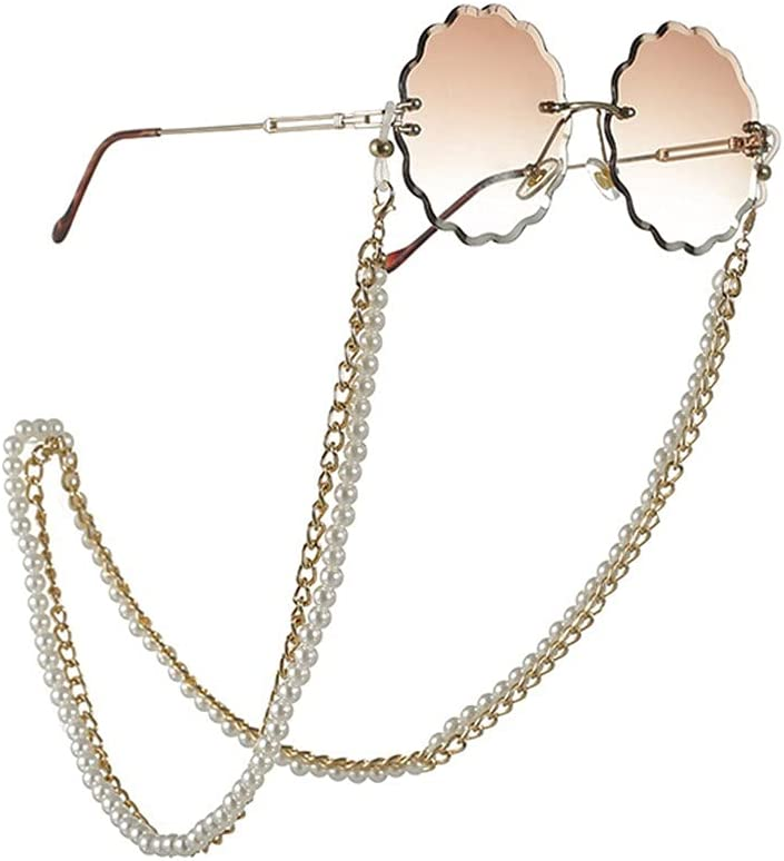 GYZX Multi-Layer Pearl Glasses Chain Lanyard for Glasses Glasses Strap Sunglasses Cords Casual Glasses Accessories (Color : A, Size : Length-70CM)