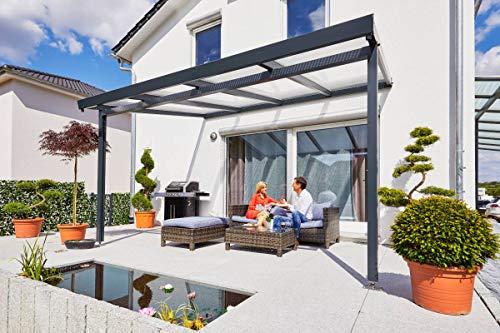Terrassendach Terrassenüberdachung Carport Set Stegplatten Premium , Alu-Unterkonstruktion, Regenrinne und Material weiß oder Anthrazit 3094mm x 3060mm (BxT)|Stegplatte:Polycarbonat bronze | UK: Weiß