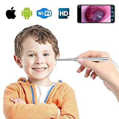 Otoscope iPhone, 3.9 mm Wireless Ear Endoscope Camera, WiFi 1080P Digital Ear Scope Inspection Camera with 6 LED Lights and Earwax Cleaning Tool for iPhone and Android.
