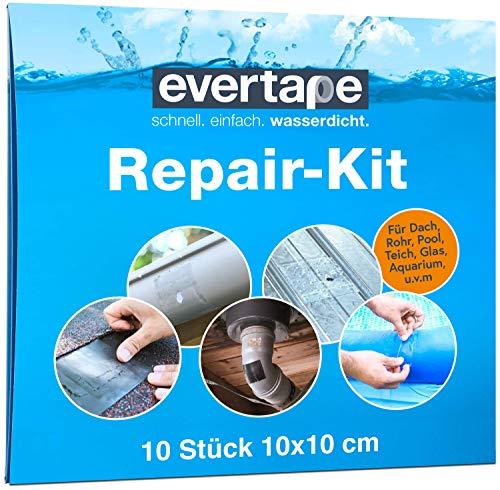 EVERFIX Evertape Repair Kit, Reparaturset, wasserdicht, Set zum Abdichten und Reparieren - auch auf nasser Fläche und unter Wasser verwendbar (10 x Tape 10 cm x 10 cm) transparent